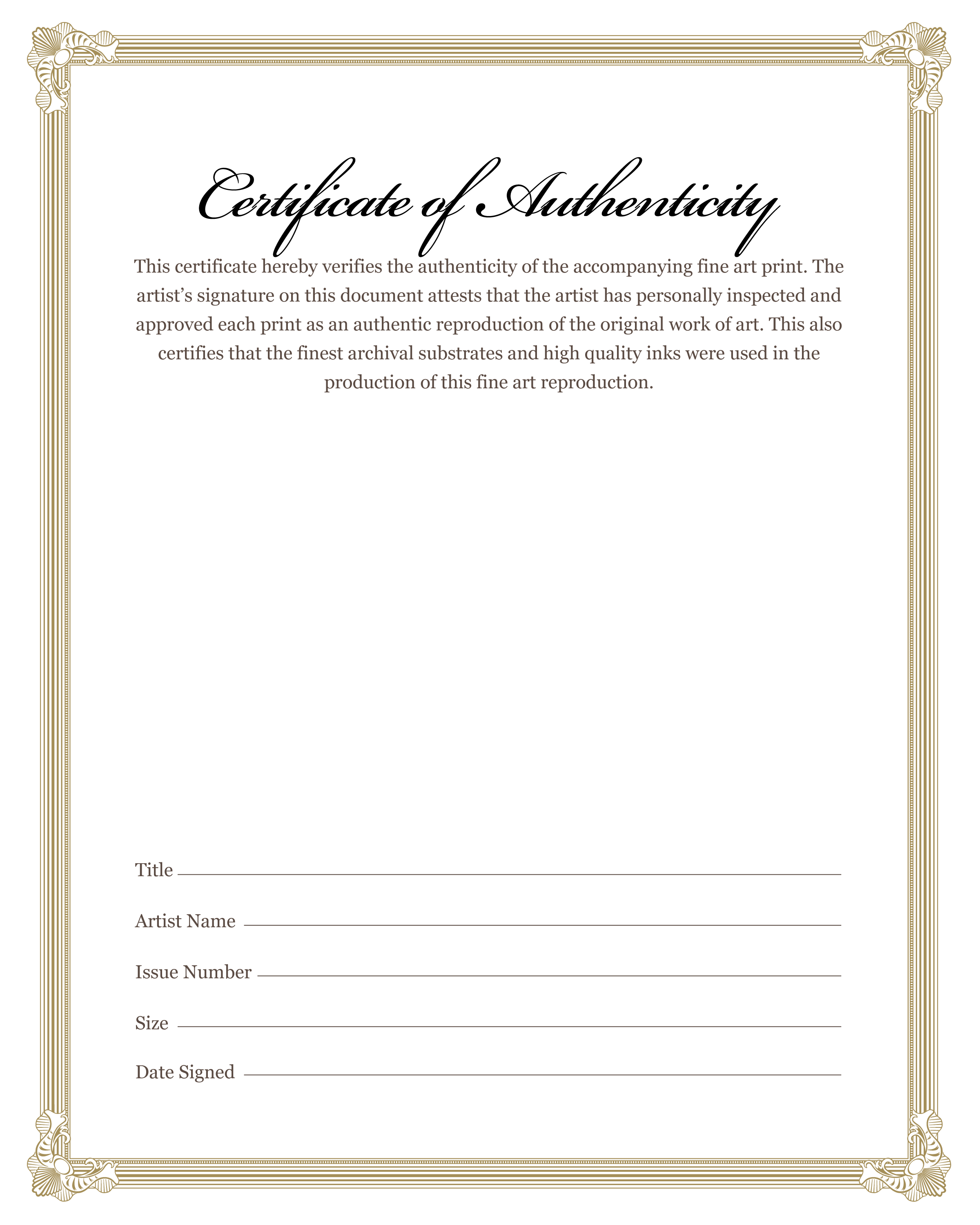 certificates of authenticity templates - american art editions orderproducts